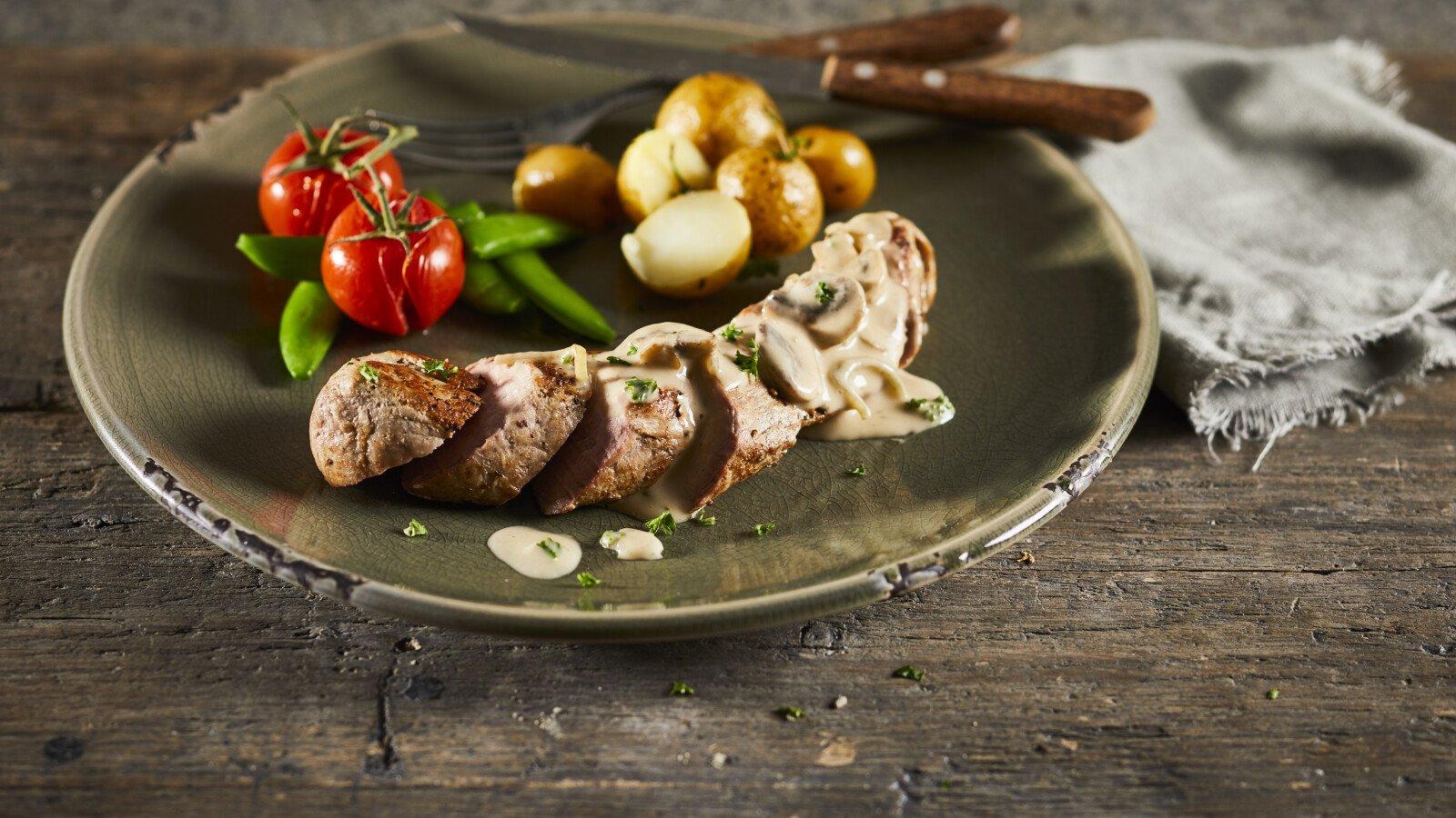 Gerecht, basissaus, C'est Ça, champignon, bord, vegan, plantaardig